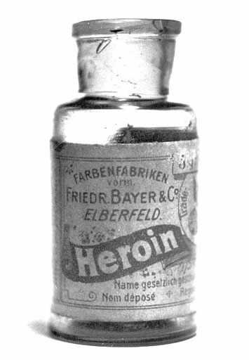 Bottle of Heroin (1890-1910) by Bayer, sold as a non-addictive substitute for morphine