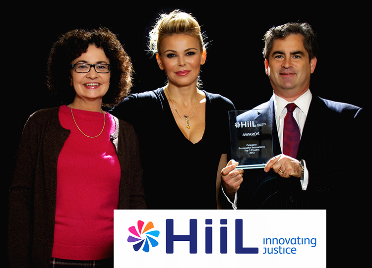 2012-11-16 Rachel Moran, Sanela Diana Jenkins, and Richard Steinberg with Innovating Justice Award