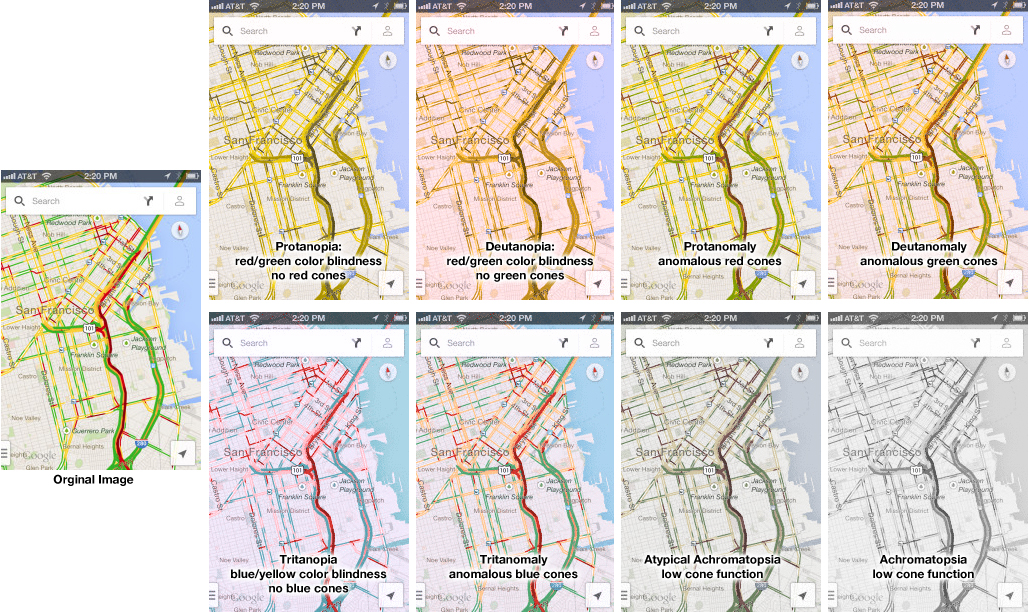 2013 iPhone Traffic Google Map Colorblind Test