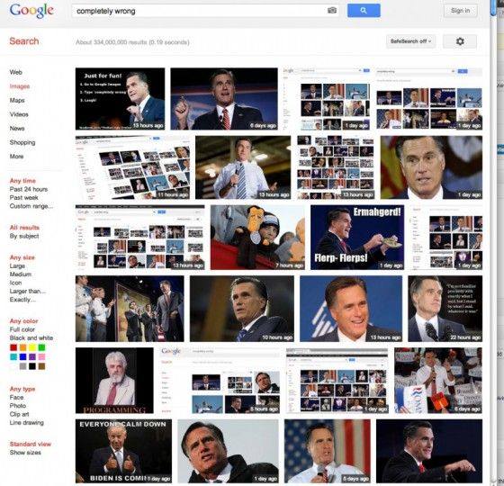 """2012-10 """"Completely Wrong"""" Google Image Search Results"""