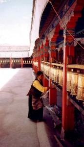 Prayer wheels at Nechung Chok