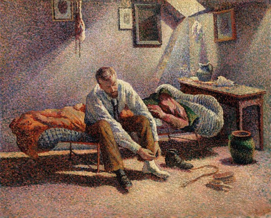 Maximilien Luce, Morning, Interior, 1890, using pointillist technique