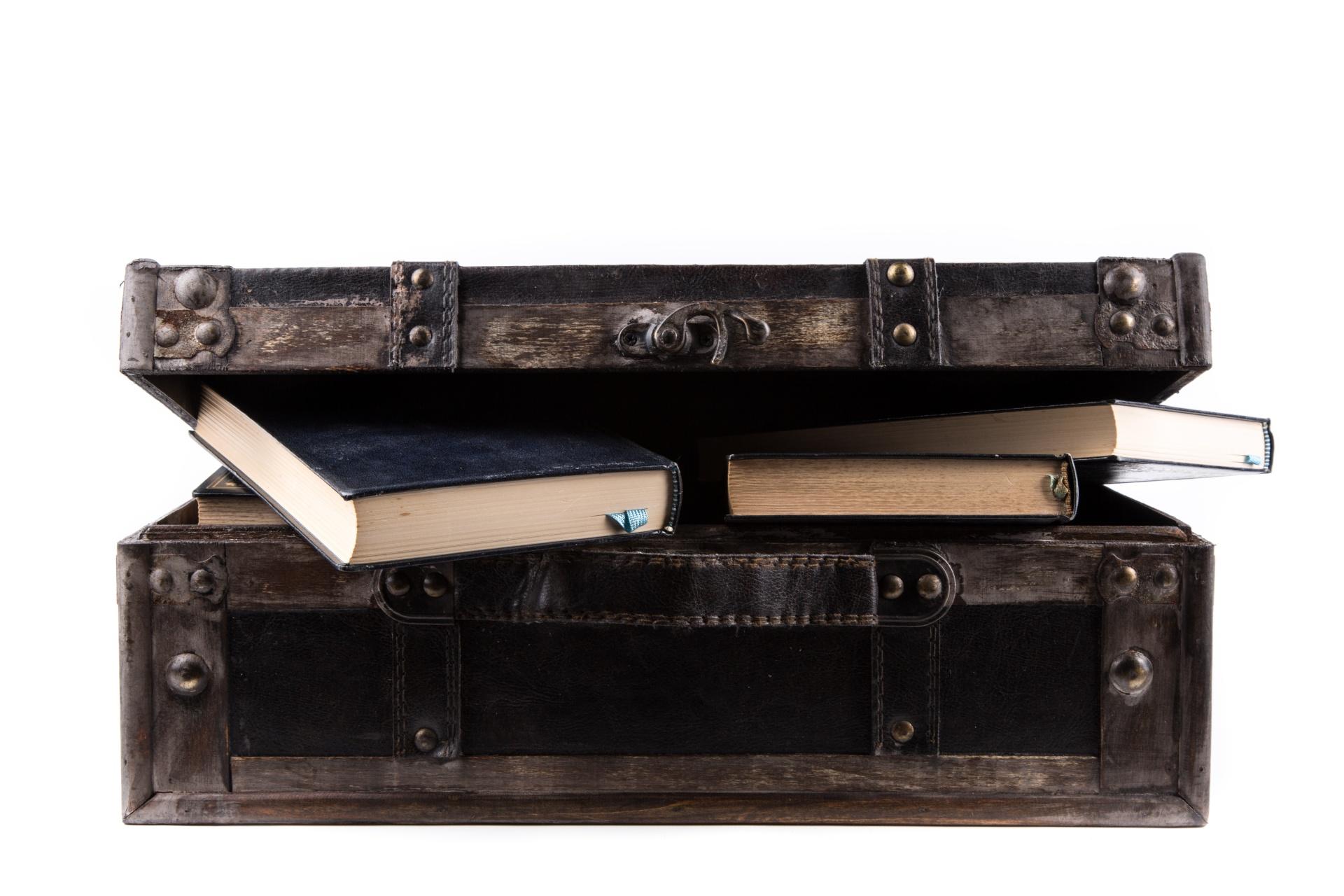 suitcase of books